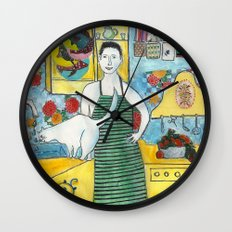 Man with cat in the kitchen Wall Clock