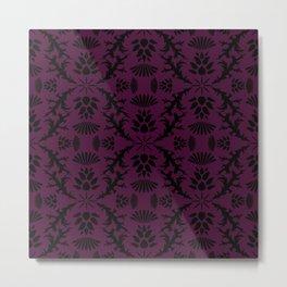 Purple Thistle Damask Metal Print