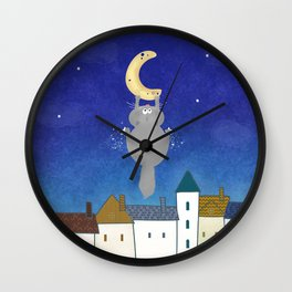 Cat and town Wall Clock