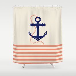 AFE Navy Anchor and Chain Shower Curtain