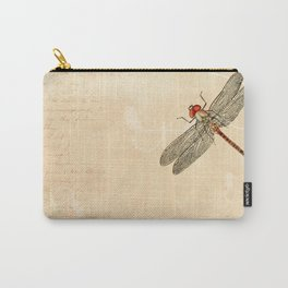 Dragonfly on old handwritten and floral vintage background Carry-All Pouch