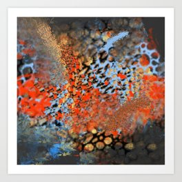 Blue, Orange, Black, Explosion Abstract Art Print