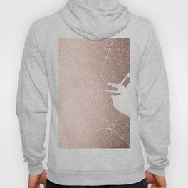Dublin Street Map Rose Gold and White Hoody