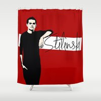 stiles stilinski Shower Curtains featuring Team Human: Stilinski  by Keyweegirlie