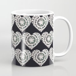 Black and Silver Mandala Hearts Textile Coffee Mug