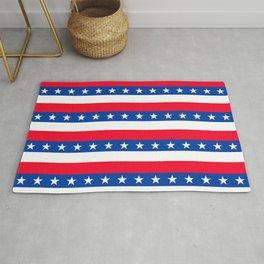 Red White Blue Stars Stripes Patriotic Rug