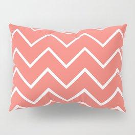 Living Coral and White Zigzag Chevron Pattern Pillow Sham