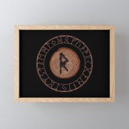 Raidho Elder Futhark Rune Travel, journey, vacation, relocation, evolution, change of place Framed Mini Art Print
