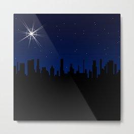 Christmas Star Over A City Metal Print