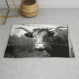 Highland Cow Longhorn Barbed Wire Fence Black and White Rug