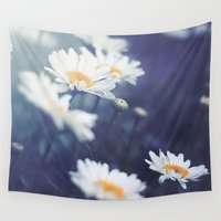 daisies Wall Tapestries featuring Daisies by Kameron Elisabeth