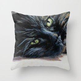 Sheila the Tortoiseshell Cat Resting Throw Pillow