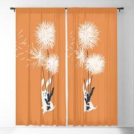 Bunny and Dandelion Bouquet Blackout Curtain