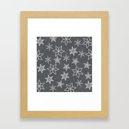 Snowflakes on grey background Framed Art Print