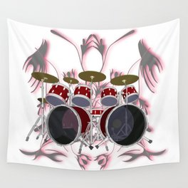 Drum Kit with Tribal Graphics Wall Tapestry