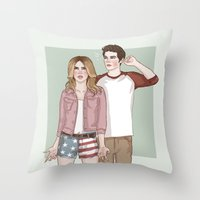 stiles stilinski Throw Pillows featuring Malia Tate/Stiles Stilinski by vulcains