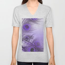 Modern purple lilac abstract peacock feathers gradient Unisex V-Neck