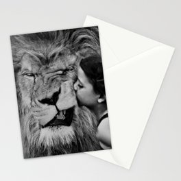 Grouchy Lion being kissed by brunette girl black and white photography Stationery Cards