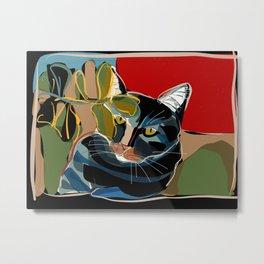 Cat in the jungle garden Metal Print
