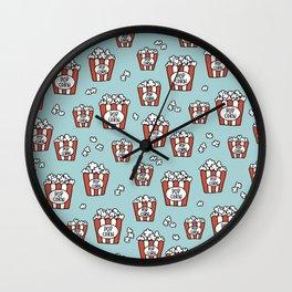 Movies and popcorn night food pop art pattern blue pattern Wall Clock