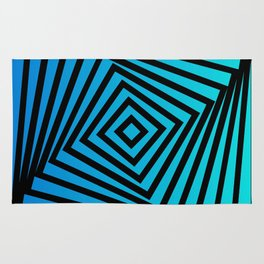 Squares twirling from the Center. Optical Illusion of Perspective bu Squares twirling Rug