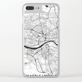 Newcastle upon Tyne Map Gray Clear iPhone Case