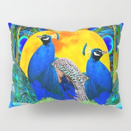 IRIS ART BLUE PEACOCKS & FULL GOLDEN MOON Pillow Sham