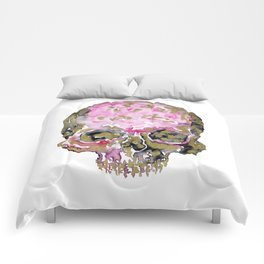 Skull In Pink & Gold Comforters