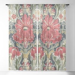 The Dovedale floral vintage wallpaper Sheer Curtain