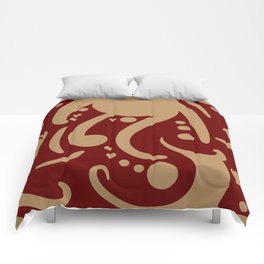 A Moderate Abstraction: Red and Tan Comforters