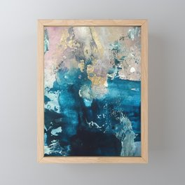 Timeless: A gorgeous, abstract mixed media piece in blue, pink, and gold by Alyssa Hamilton Art Framed Mini Art Print