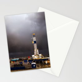 Oil Rig - Storm Passes Behind Derrick in Central Oklahoma Stationery Cards