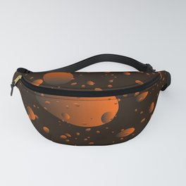 Large brown drops and petals on a dark background in nacre. Fanny Pack