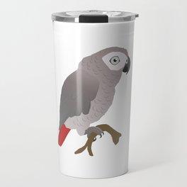 Cute African grey parrot vector Travel Mug