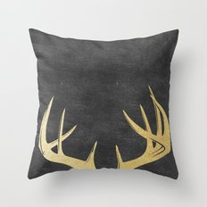 Gold Glitter Antlers Throw Pillow