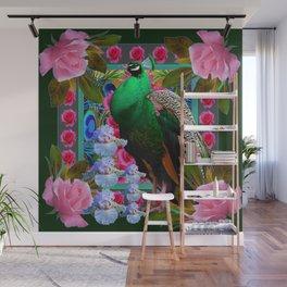 PINK ROSES & GREEN PEACOCK GARDEN FLORAL ART Wall Mural