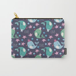 seamless pattern with the image of cute whales in hats, stars and bubbles on a dark background Carry-All Pouch