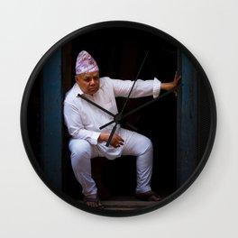 Nepali man of Kathmandu, Nepal Wall Clock