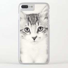 Portrait of a Kitten in Black and White Clear iPhone Case