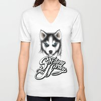 husky V-neck T-shirts featuring Siberian Husky by Det Tidkun