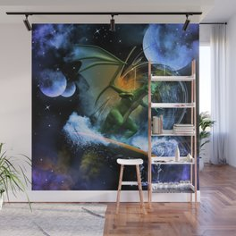 Funny surfing dragon Wall Mural