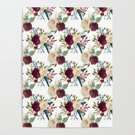Burgundy ivory green watercolor boho floral pattern Poster