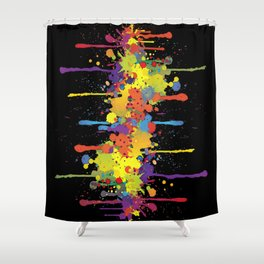 Crazy Multicolored Double Running Splashes Shower Curtain