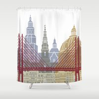 copenhagen Shower Curtains featuring Copenhagen skyline poster by Paulrommer
