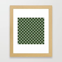 Large Dark Forest Green Checkerboard Pattern Framed Art Print