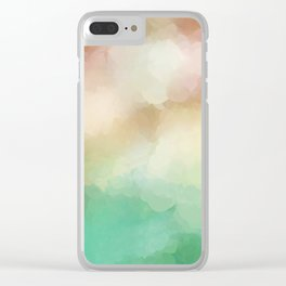 Abstract Blush Pink Green Design Clear iPhone Case