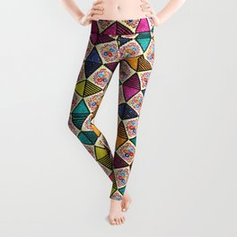 Colorful Kaleidoscopic Abstract Flower Pattern Leggings
