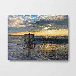 Disc Golf Basket Chesapeake Bay Virginia Beach Ocean Sunset Metal Print