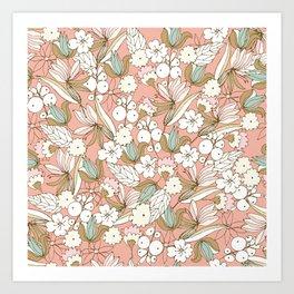 Romantic Beige Floral Art Print