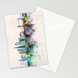 London V2 skyline in watercolor background Stationery Cards